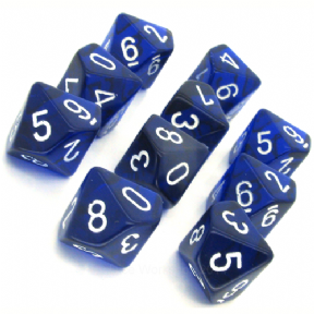 Blue & White Translucent D10 Ten Sided Dice Set